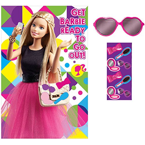 Barbie Sparkle Get Barbie Ready Party Game Birthday Activity (4 Pack), Multi Color, 37 1/2