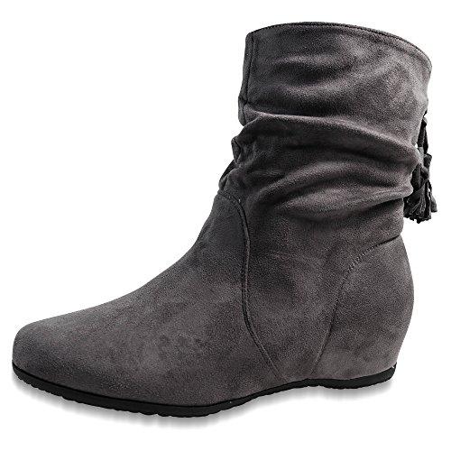 Schuhtraum Damen Stiefel Stiefeletten Boots Keilabsatz Gefüttert Wedge ST312 Grau