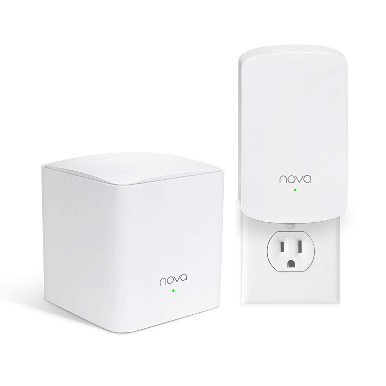 Tenda Nova MW5(2-Pack) Wall-Plug Whole Home Mesh WiFi System, Coverage up to 2,500 sq. ft, Plug and Play, Router/WiFi Extender Replacement, Gigabit Connection to Your Cable Modem by Tenda