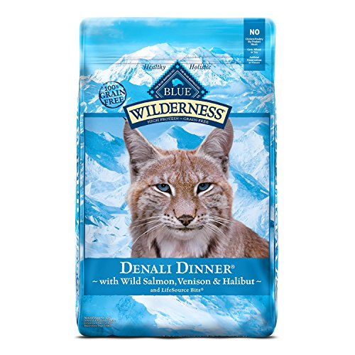 Blue Buffalo Wilderness High Protein Grain Free, Natural Adult Dry Cat Food, Denali Dinner with Wild Salmon, Venison & Halibut 10lb ()