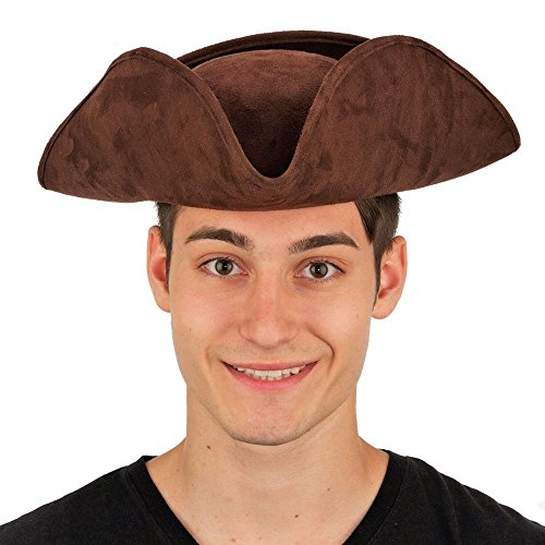 [Brown Tricorne Hat] (Adult Colonial Tricorn Hat)