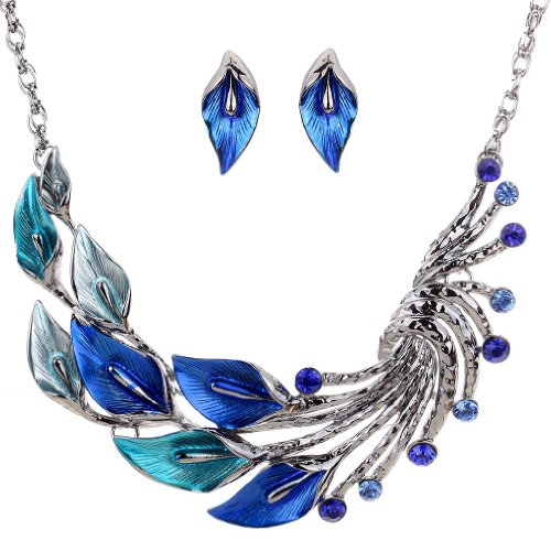 (YAZILIND Ethnic Style Blue Peacock Chunky Bib Earrings Necklace Set Wedding Party)