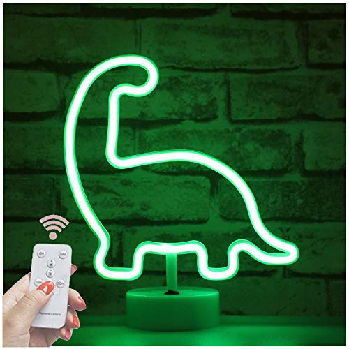 LED Neon Dinosaur Signs with Wireless Remote Control - USB & Battery Powered Neon Night Lights - Light Up Animal Sign Apartment Desk Top Room Decor for Teen Girls Kids (RC Neon Dinosaur with holder)