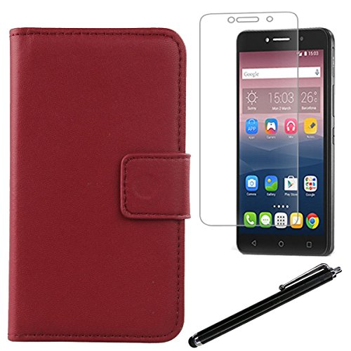 Gukas Design 3in1 Set Dark Red Genuine Leather Case For Alcatel Pixi 4 6