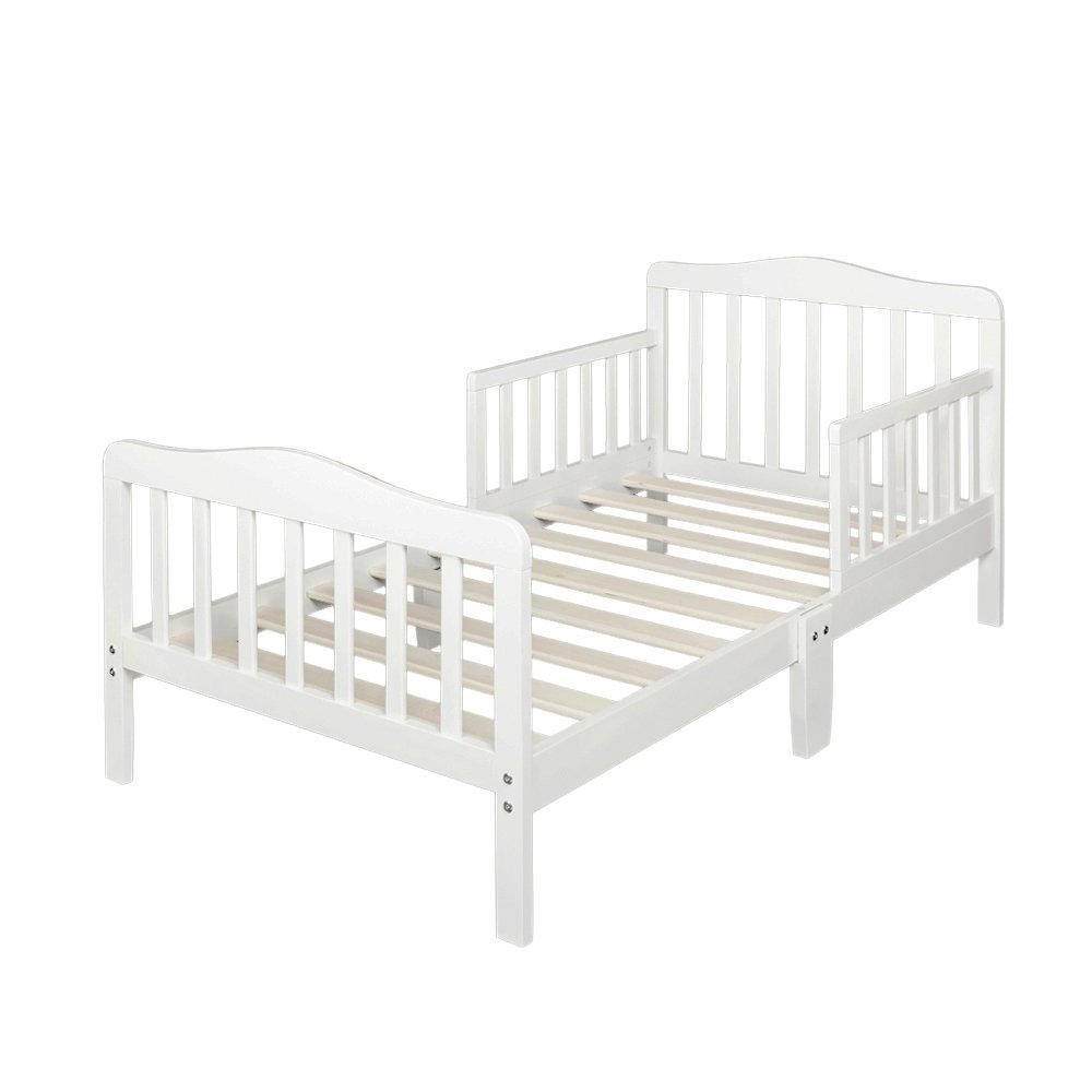 Bonnlo Contemporary Wooden Toddler Bed Sturdy Bedframe with Guard Rail Bedroom Furniture for Kids Children – White