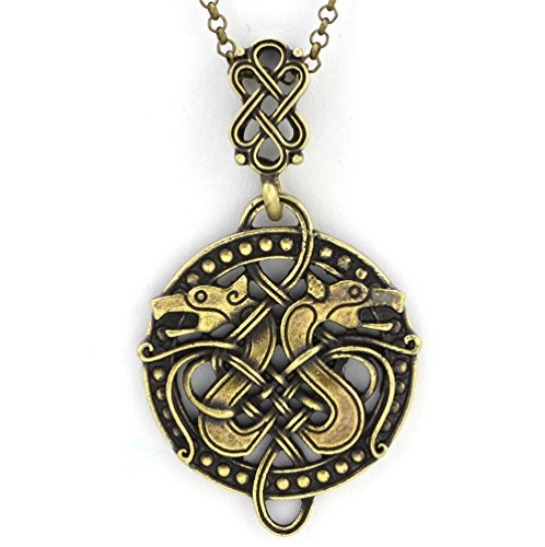 TTKP Wolf Wolf Necklace Wolf Jewelry Wolf Pendant Necklace Jewelry Nordic Jewelry Viking Charm Viking Pendant]()