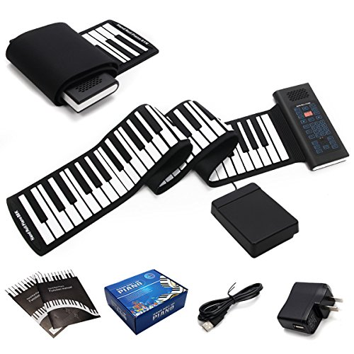 Costzon Roll Up Piano, 88 Keys Rechargeable Electronic Silicone Keyboard with Pedal