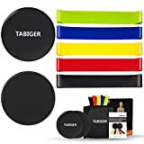 Tabiger Resistance Bands for Legs and Butt, Core Sliders and Resistance Bands Set, 5 Fitness Bands and 2 Gliding Discs with Carry Bag for Sport, Abdominal Exercise, Strengthen, Physical Therapy For Sale