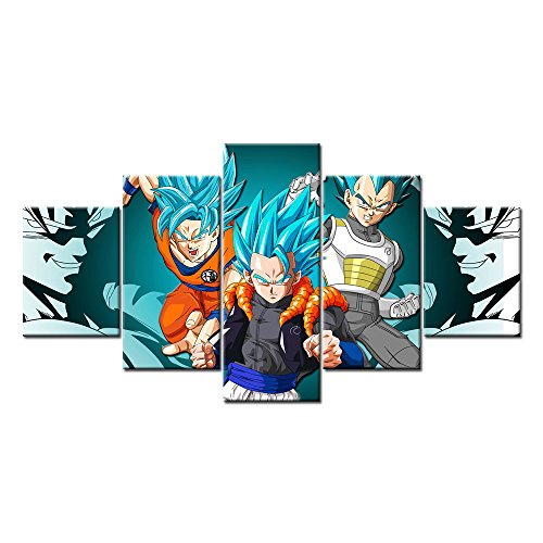 [Vegito Super Saiyan God Goku and Vegeta 5 Pieces Wall Arts Modern Prints on Canvas (Unframed)] (Dbz Saiyan Armor Costume)