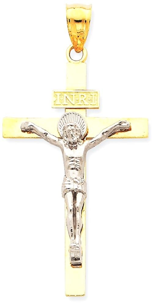 ICE CARATS 14k Two Tone Yellow Gold Inri Crucifix Cross Religious Pendant Charm Necklace Latin Fine Jewelry Gift Set For Women Heart