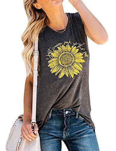 (YourTops I Just Wanna Soak Up The Sun Sunflower T-Shirt and Tank Top (L, Grey Tank))