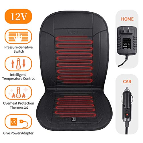 LARROUS Leather Heated Car Seat Cushion with Pressure-Sensitive Switch and Overheat Protection Thermostat,for Office Chair,Home and More,with Power Adapter.(12Volt,Black) (Office Warmer Seat Chair)