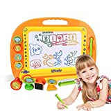 Magnetic Drawing Board Kids Toy - Doodle Pro Sketch 8 Colors Zone Craft Art Erasable Toy for Children Toddler Skill Developmet with 4 Stamps and 1 Pen