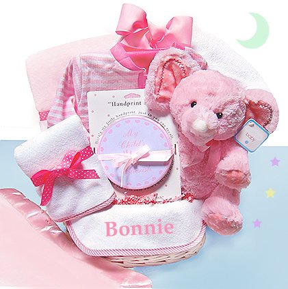 Minky Dots Pink Personalized Gift Basket