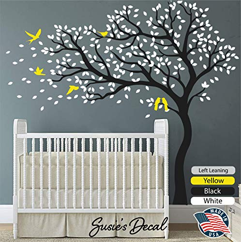 "Susie's Decal Black Tree Wall Decal Sticker White Leaves Yellow Birds Peel and Stick Large and Simple Nursery Decor 81"" x 84"" (LxH) - DIY Easy to Install and Apply- Left Leaning"