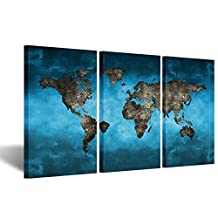 Kreative Arts - Blue World Map Extra Large Modern Gallery Wrapped Contemporary Giclee Canvas Print Pictures Photo Paintings on Canvas Wall Art Work Ready to Hang for Living Room Decor 20x36inchx3pcs
