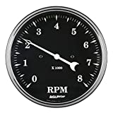 AutoMeter 1799 Old Tyme Black In-Dash Tachometer 5 in. Black Dial Face White Pointer White Incandescent Lighting Electric Air-Core 0-8000 RPM Old Tyme Black In-Dash Tachometer