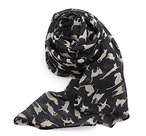 Graffiti Cat Kitten Print Scarf Wraps Chiffon Silk Scarves Black Color Warm Wrap Shawl Women (Black)