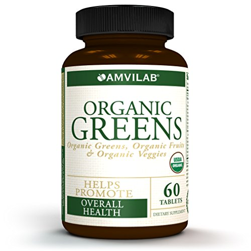 Amvilab Organic Greens, Fruits & Veggies Supplement – 60 Tablets – USDA Certified Organic – Helps Promote Overall Health – No. 1 Source of Essential Nutrient-Rich Superfood – 30 Day Supply