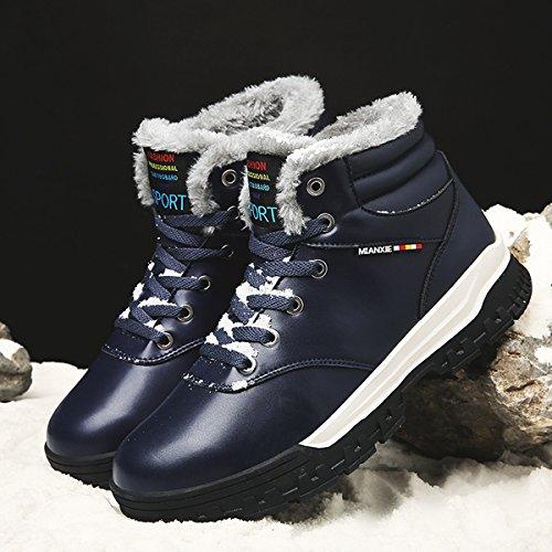 COFACE Herren Warmer Ihnengefüllter Schneestiefel Winterstiefel Kurzschaft Wasserdicht Turnschuhe Bequem Sneaker Outdoor Boots Stiefel Für Winter Blau