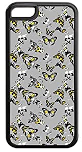 Butterfly Scatter - Case for the APPLE iphone 5s ONLY!!!-NOT COMPATIBLE WITH THE iphone 5s!!!-Hard Black Plastic Case with Soft Black Rubber Inner Lining