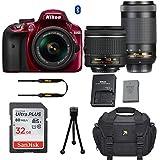 Nikon D3400 DSLR Camera (Red) with Nikon AF-P DX 18-55mm f/3.5-5.6G VR Lens + Nikon AF-P DX NIKKOR 70-300mm f/4.5-6.3G ED Lens + 32GB Memory Card + Camera Carrying Bag + Tripod (Certified Refurbished)