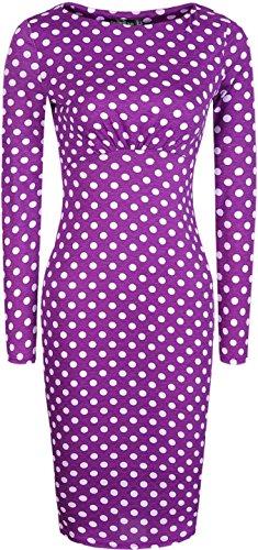 Jeansian Vestidos De Noche De Las Mujer Lunares Delgado Elegante Women Elegant Slim Polka Dot Evening Gowns WKD178 Purple