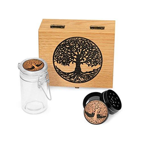 (Tree of Life Oak Wood Stash Box Combo - Mini Titanium 4 Part Herb Grinder - Glass stash jar - Engraved Wood Handmade Decorative Stash Box (Tree of Life))