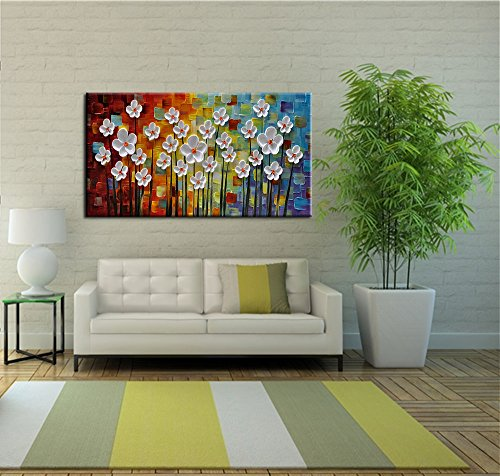 YaSheng Art 100% Hand painted Art Beautiful colorful Oil Paintings On Canvas Abstract Art Texture Flowers Paintings Home Interior Decor Picture Canvas Wall Art Painting (24x48inch)
