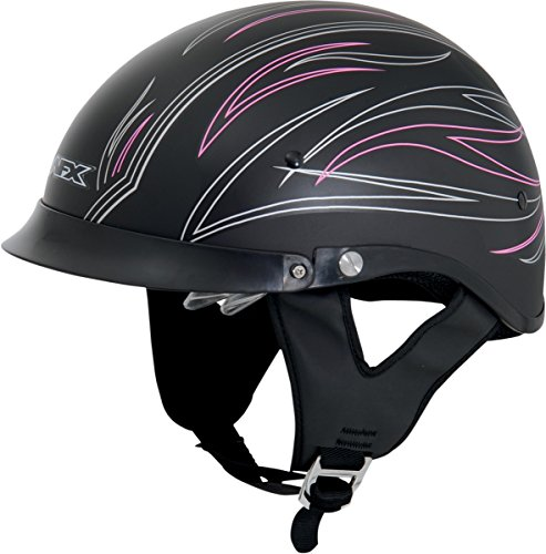 AFX FX-200 Dual Inner Lens Half-Style Beanie Helmet, Pink Flat Pinstripe 0103-0772, Size: Lg