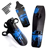 fender cleaner - FETESNICE Cycling MTB Mountain Bike Road Bicycle Front Rear Mudguard Fender and Front Clip-on Bicycle Down Tube Fender Set Mud Guard (Blue)
