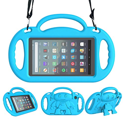 LEDNICEKER Kids Case for All-New Fire 7 Tablet (9th Generation - 2019 Release) - Shockproof Handle Friendly Kids Stand Case with Shoulder Strap for Amazon Fire 7 2019 and 2017 (7 Inch Display), Blue (7 Tablet Case For Kids)