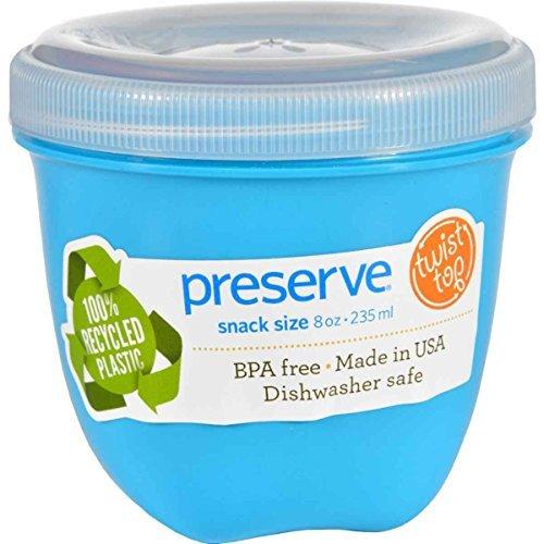 Preserve Aquamarine Mini Round Food Storage Container, 8 Ounce - 12 per case.
