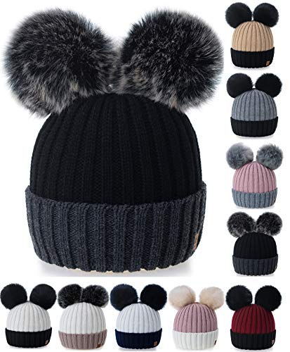 Con Varios Boy For Skullies Pompom Winter Poked 4sold Talla Negro Wholesale Miki Knitted Girl Rita y Wholesale Unisex Torsades Bonnet Piel Gris colores Gorros Uawqq5IPz