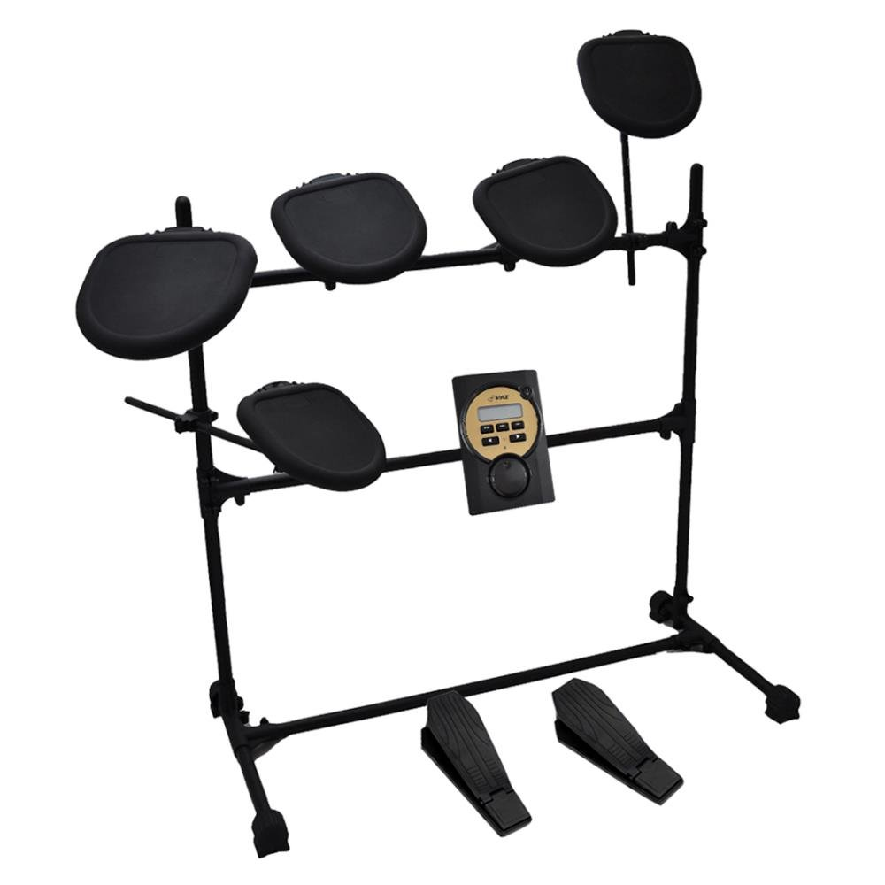 Pyle Pro 9 Piece Electronic Drums Set - Electric Drum Kit with 5 Drum Pad Heads, 2 Cymbal Crash Pads, Hi Hat and Bass Pedal Controller, Module, Stand Rack, Sticks - Professional/Beginners - PED021M Sound Around