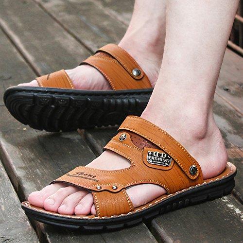 ZHANGJIA CoréenPortableChaussons ChaussuresDePlageOccasionnelsEtD'Antidérapage HommesSandales 44 67862JauneVif L'Été rq1BgnWr