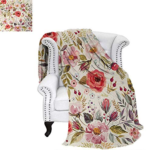 (Warm Microfiber All Season Blanket for Bed or Couch Watercolor Abstract Spring Poppies Flowers Roses Buds Leaves Romantic Print Throw Blanket 90