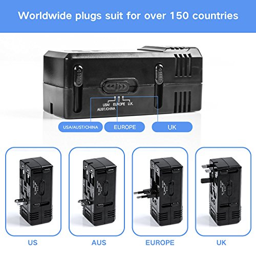 DOACE 1875W Travel Power Converter and Adapter Combo, Step Down Voltage Transformer 220V to 110V for Hair Dryers, International EU/UK/AU/US Wall Charger Plugs for 150 Countries (1875W) (1875W) by DOACE (Image #3)