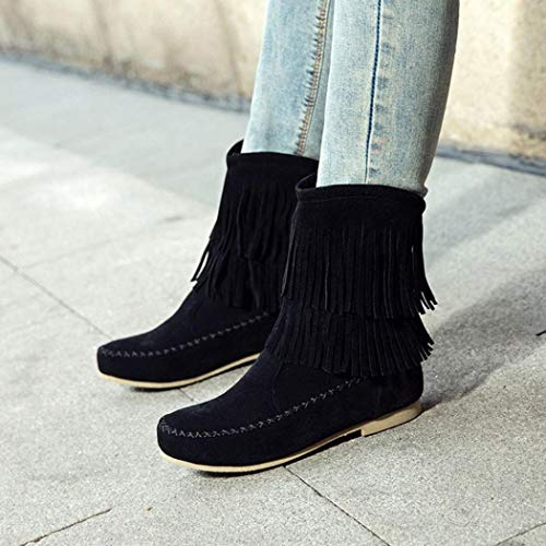 Low Women's FALAIDUO Cylinder Tassel Boots Black Boots Boots Fashion Flock Lady Retro Flat wqxqWvYBF