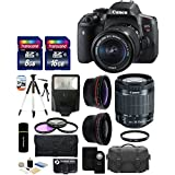 Canon EOS Rebel T6i 24.2MP CMOS Digital SLR Camera with EF-S 18-55mm f/3.5-5.6 IS STM Lens + 58mm Telephoto Lens + Wide Angle Lens + Case + Flash + Tripod + 24GB Deluxe Accessories Bundle