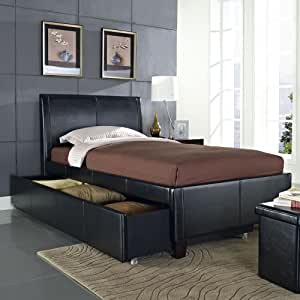 Standard Furniture New York Upholstered Trundle Bed In Black Twin Kitchen Dining