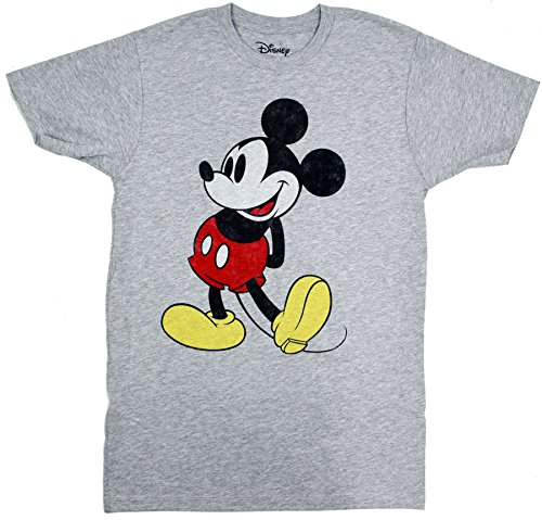 Classic Mickey Mouse Facing Left T-shirt (XXL, Heather Grey) (Disney Clothing For Adults)