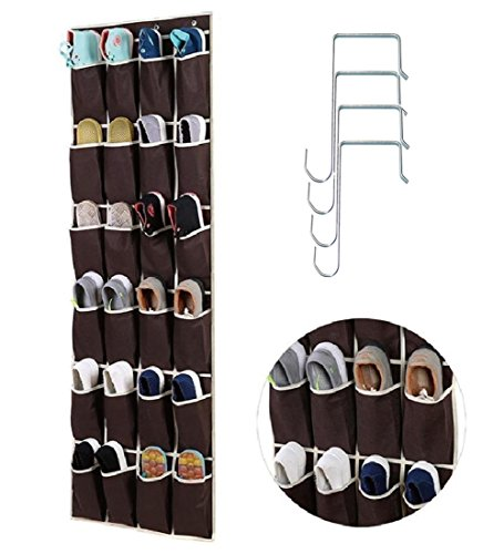 Over the Door Shoe Organizer Portable Storage Bag with 24 Reinforced Pockets Save Space and 4 Steel Hooks.