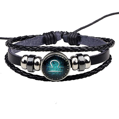 HIRIRI Hot Sale Unisex 12 Constellations Bracelet Fashion Jewelry Alloy Leather Bracelet Personality Bracelet Gift (@Libra)]()