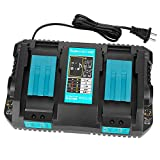Powilling DC18RD Dual Port Charger Compatible with Makita 18V Lithium-Ion Battery BL1830 BL1850 BL1815 BL1860
