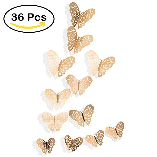 36PCS 3D Butterfly Stickers, Golden Butterfly Wall Stickers Art Wall Decal Butterfly Window Sticker for Home Office Baby Kids Nursery Bedroom Bathroom Fridge Wedding Party Decoration Double Sided Activity Table