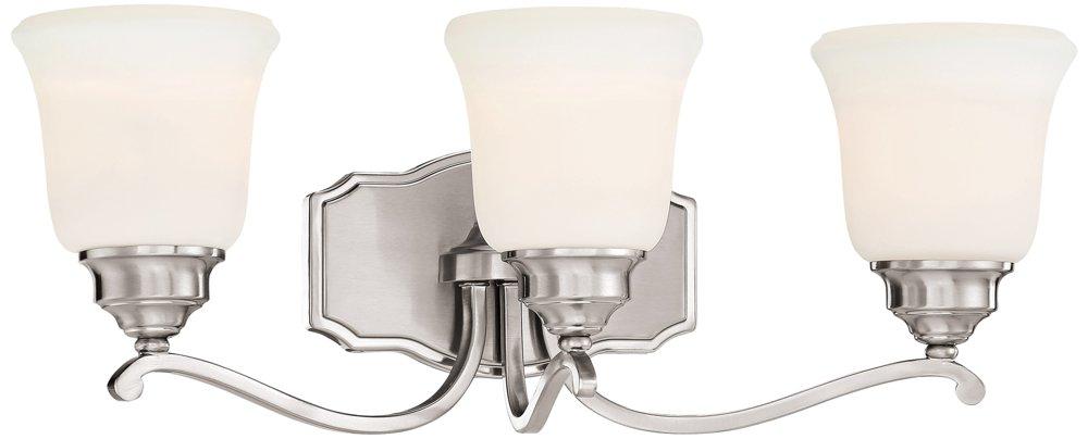 Minka Lavery 3323-84 Savannah Row 3-Light Bath Vanity in Brushed Nickel 70%OFF