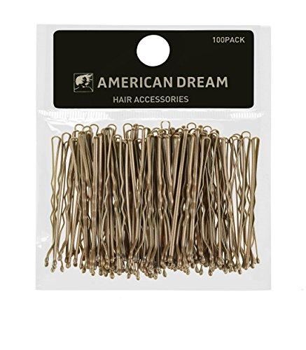 AMERICAN DREAM Pack of 100 x Haarnadeln - blond - gewellt - 2 inch / 5 cm Länge, 1er Pack (1 x 68 g)