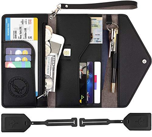 Passport Wallet, Travel Accessories Tri-fold RFID Blocking Document Organizer Multi-pocket Card Holder with 2 Luggage Tags