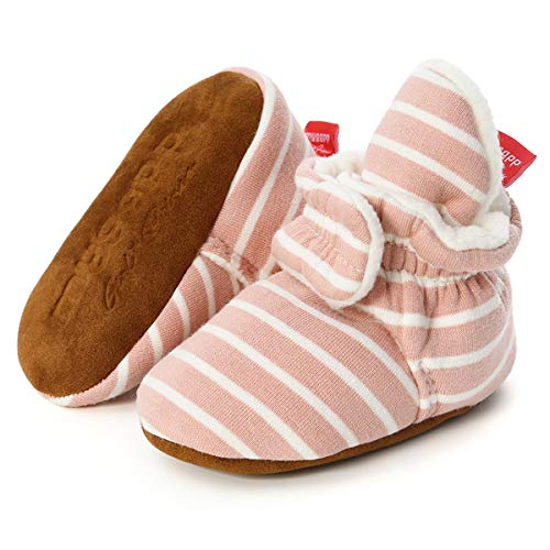 Tutoo Infant Baby Boy Girl Cozy Fleece Bootie Newborn Stay On Slipper Sock Soft Sole Gripper Non-Skid Crib Shoe First Birthday Shower Gift (6-12 Months Infant, A02-pink Stripe)